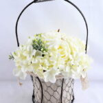 Artificial Flower 25*25*37cm rose hydrangea in metal frame with flax bag GS-06919023-W1