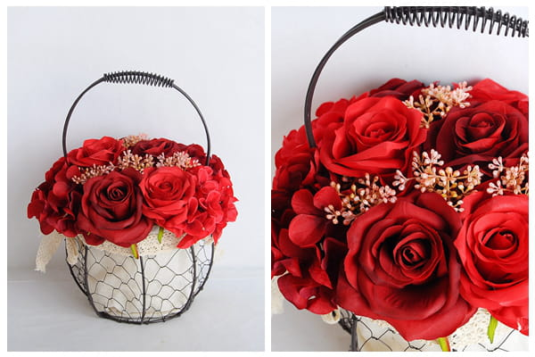 artificial flower rose  wrought iron potted plant 06919029-R1