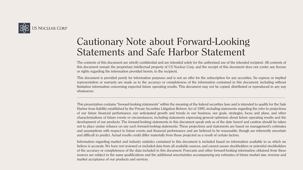 Cautionary Note about Forward-Looking Statements and Safe Harbor Statement
