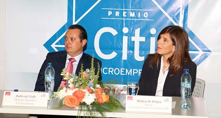 Pablo Del Valle, director ejecutivo de Citi Guatemala, junto a Mónica de Zelada, decana de la facultad de Ciencias Económicas de la UFM forman parte de los distintos comités del la premiación. Foto / Cortesía.