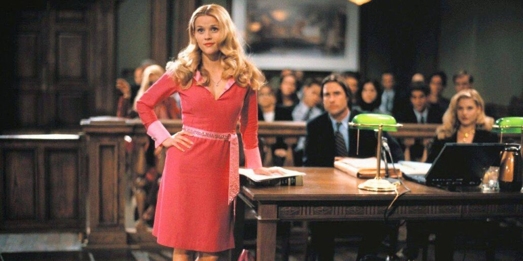 elle woods from legally blonde in the courtroom Source: MGM
