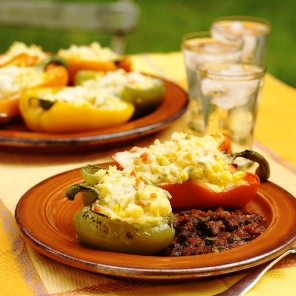 Polenta Stuffed Roasted Peppers recipe