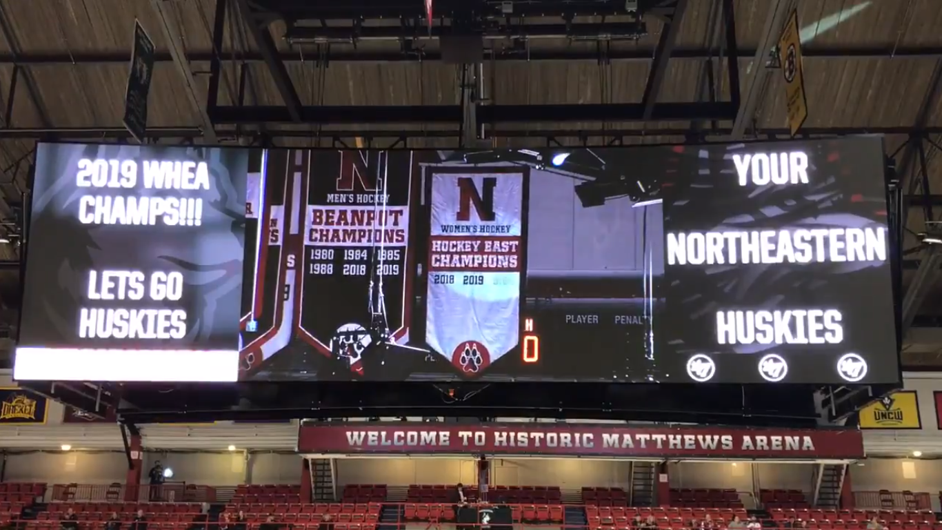 Northeastern Huskies Drop 2019 Women's Hockey East Championship Banner