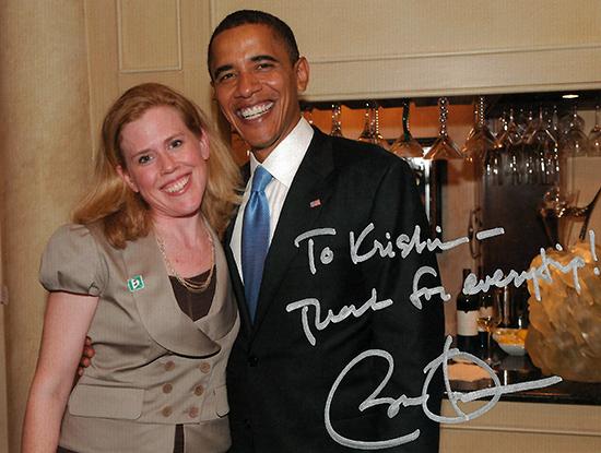 Kristin Oblander with President Barack Obama