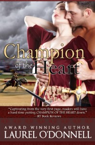 Medieval romance novel cover for Champion of the Heart by Laurel O'Donnell