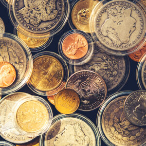 Plenty of Collectible Coins in Closeup Photography. Vintage United States of America Coins. Some in Air-Tite Holders.