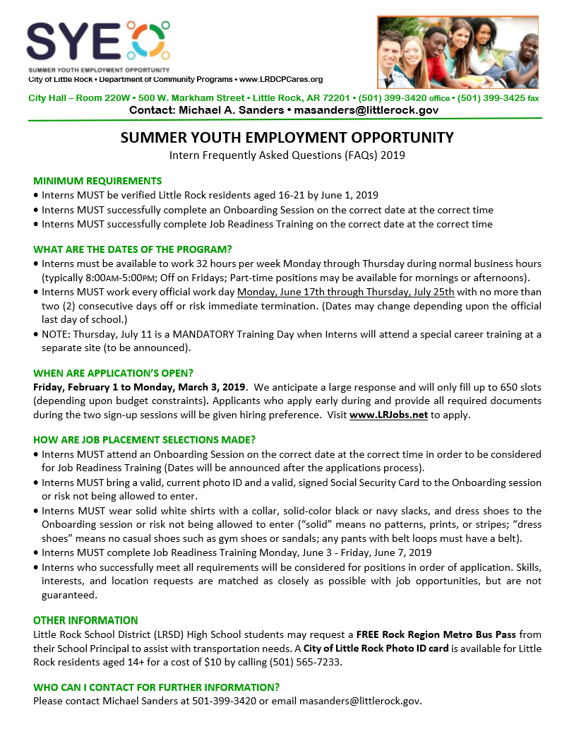 Summer Youth Employment Opportunity 1