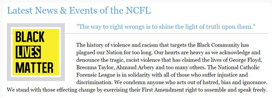Screenshot of NCFL BLM Statement