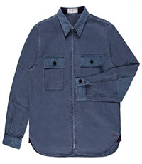 Paul Smith Shirts - Washed Blue Zip-Front Cotton Overshirt