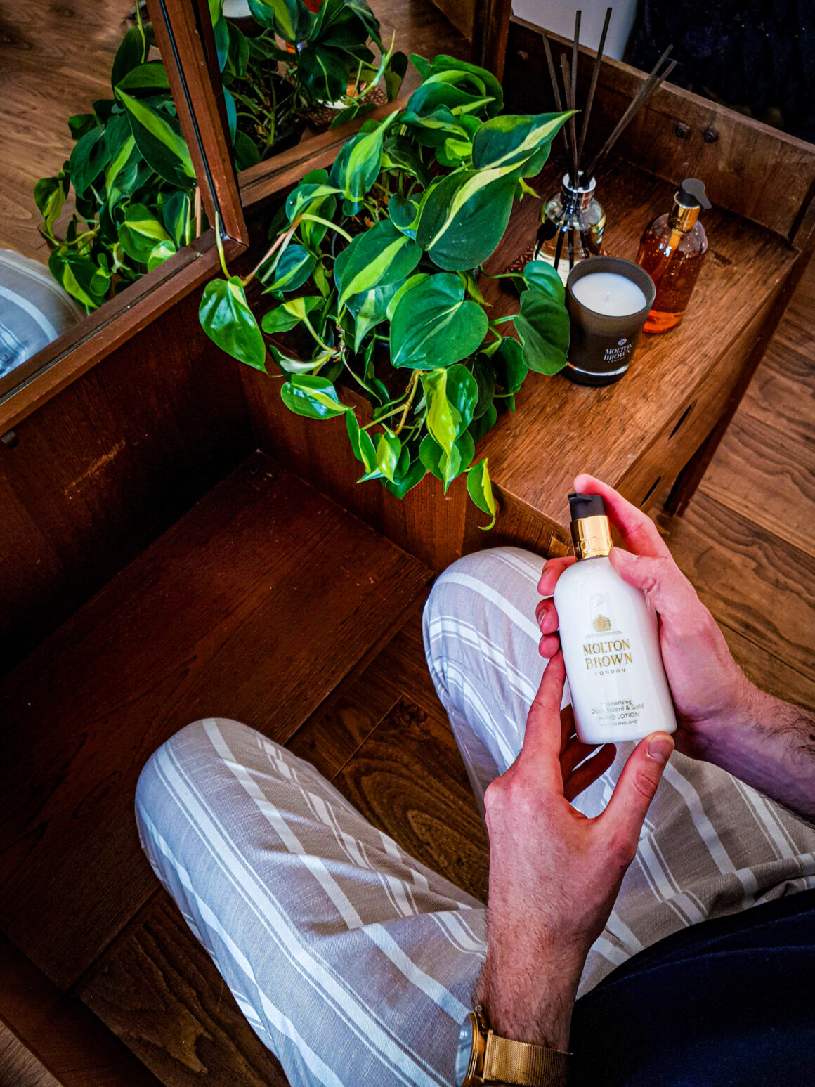 At Home with Molton Brown Tobacco Absolute hand lotion