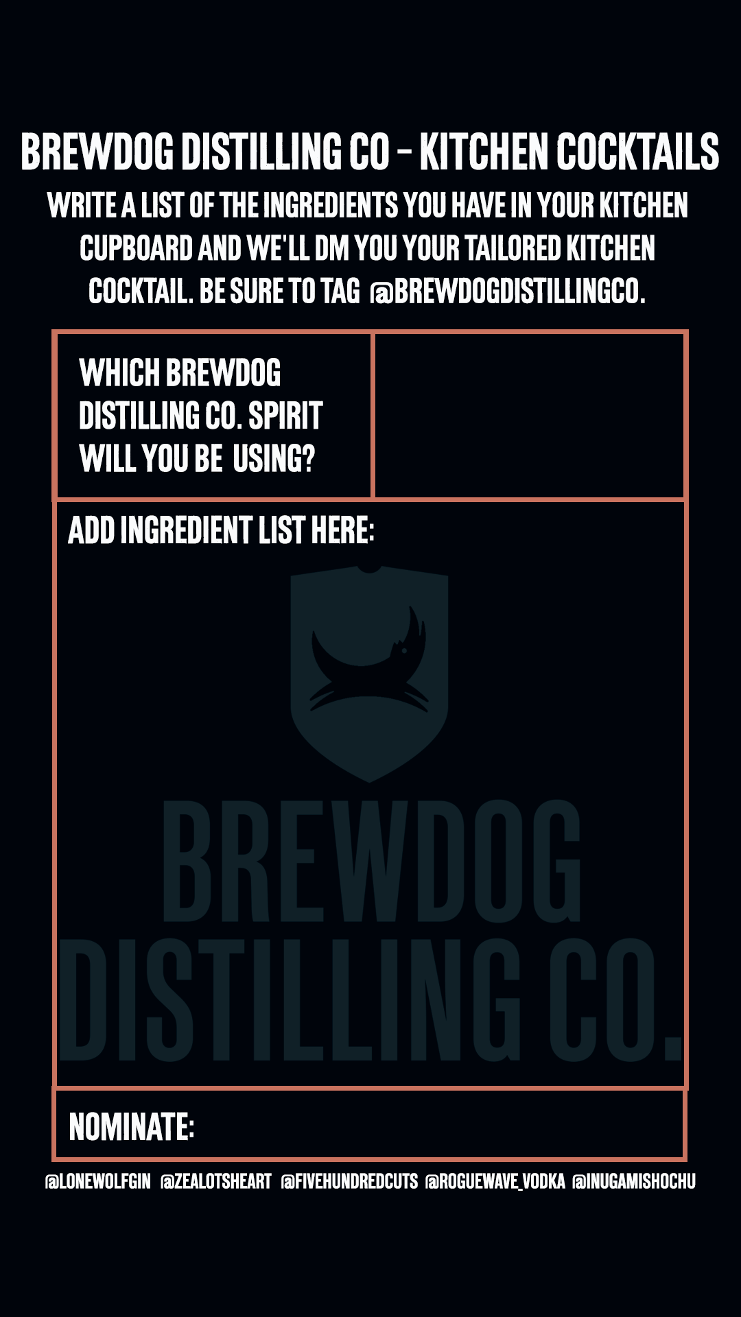 BrewDog Distilling Co Instagram bartender concierge - Kitchen Cocktails