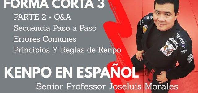 KENPO EN ESPAÑOL – Forma Corta 3 – 2da Parte – SECUENCIA + Q&A – Joseluis Morales S.P