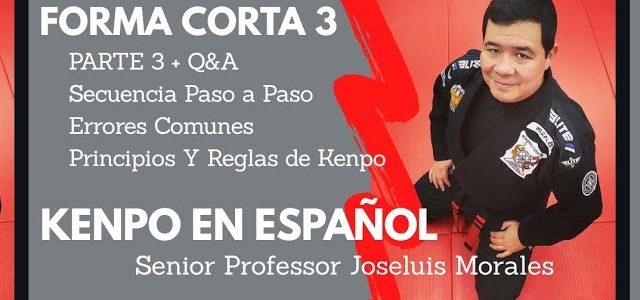 KENPO EN ESPAÑOL – Forma Corta 3 – 3ra Parte – SECUENCIA + Q&A – Joseluis Morales S.P