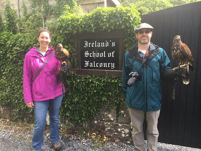 Jessica with a falcon at Ireland's School of Falconry