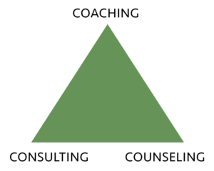Coaching Consulting and Counseling pyramid
