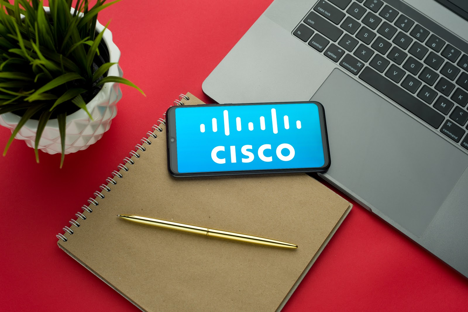 Cisco logo on a cell phone