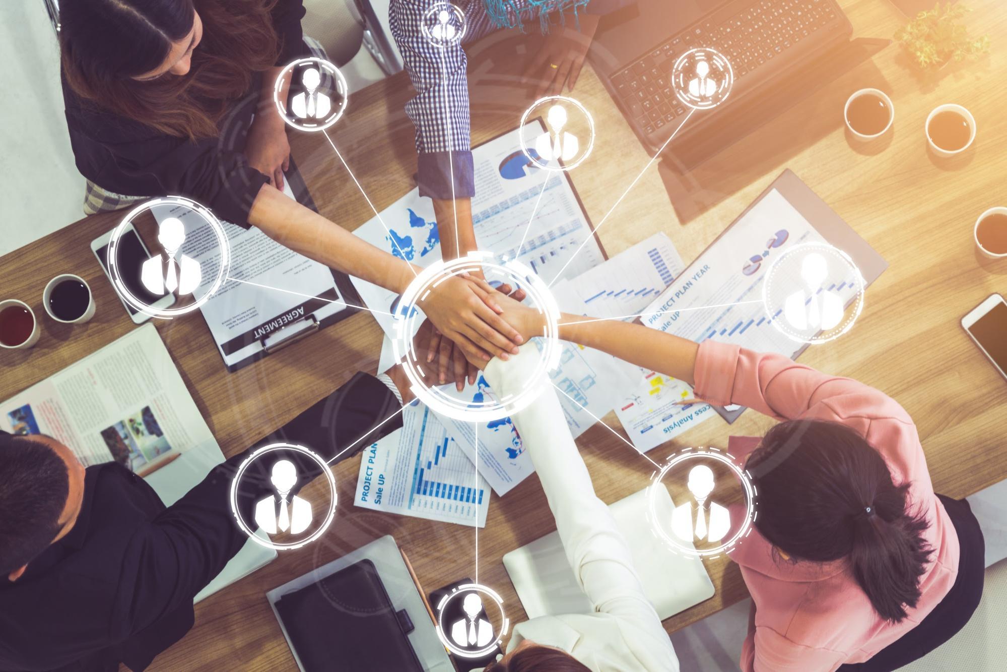 Human Resource Internships: Diverse People stacking hands