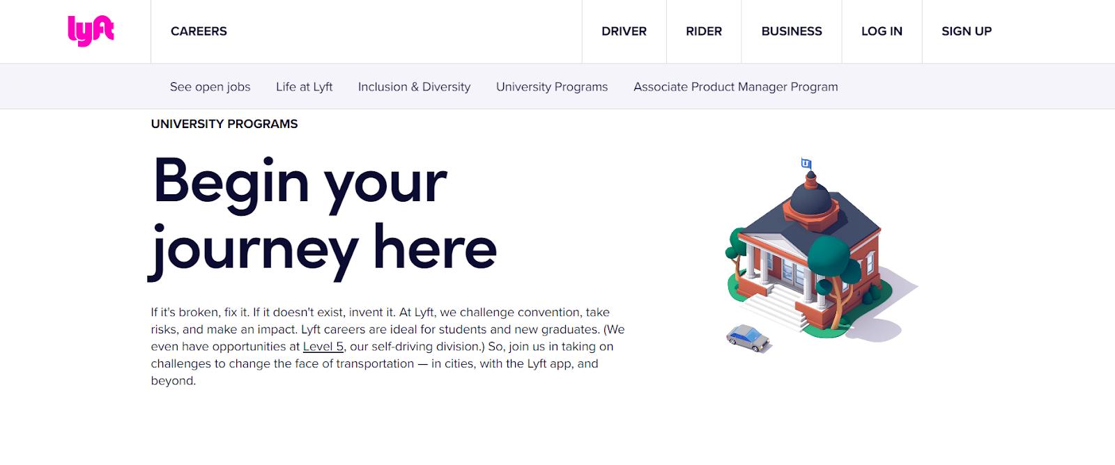 Lyft Internship: Lyft careers landing page