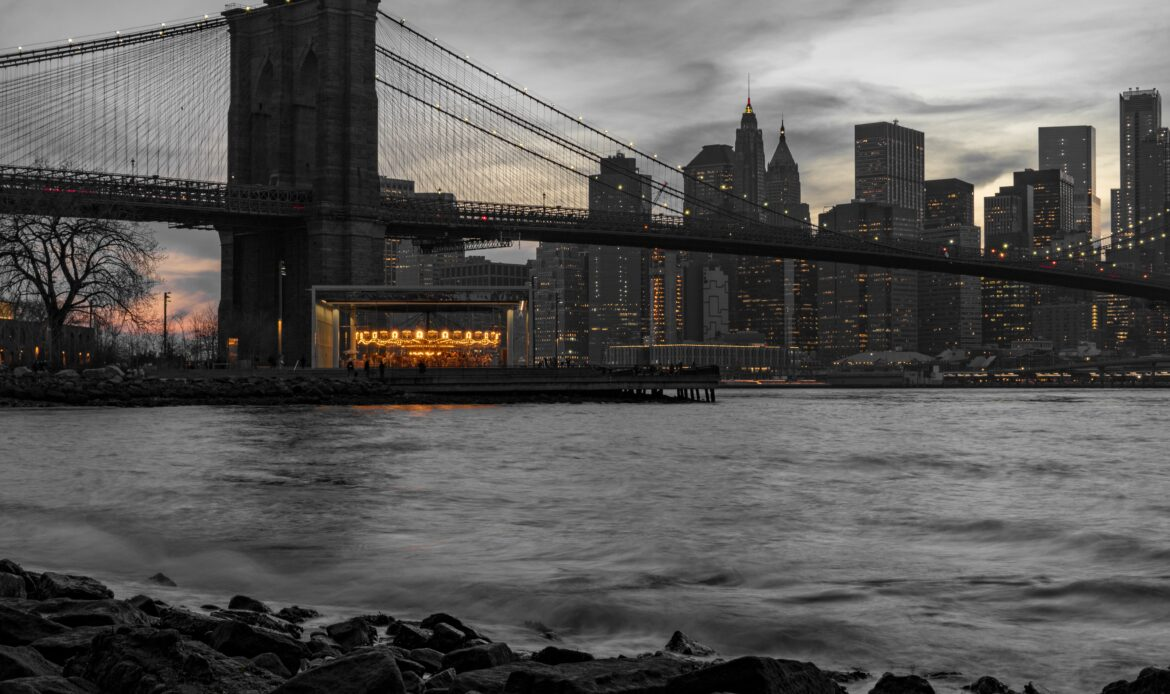 The Brooklyn Bridge with the New York skyline.