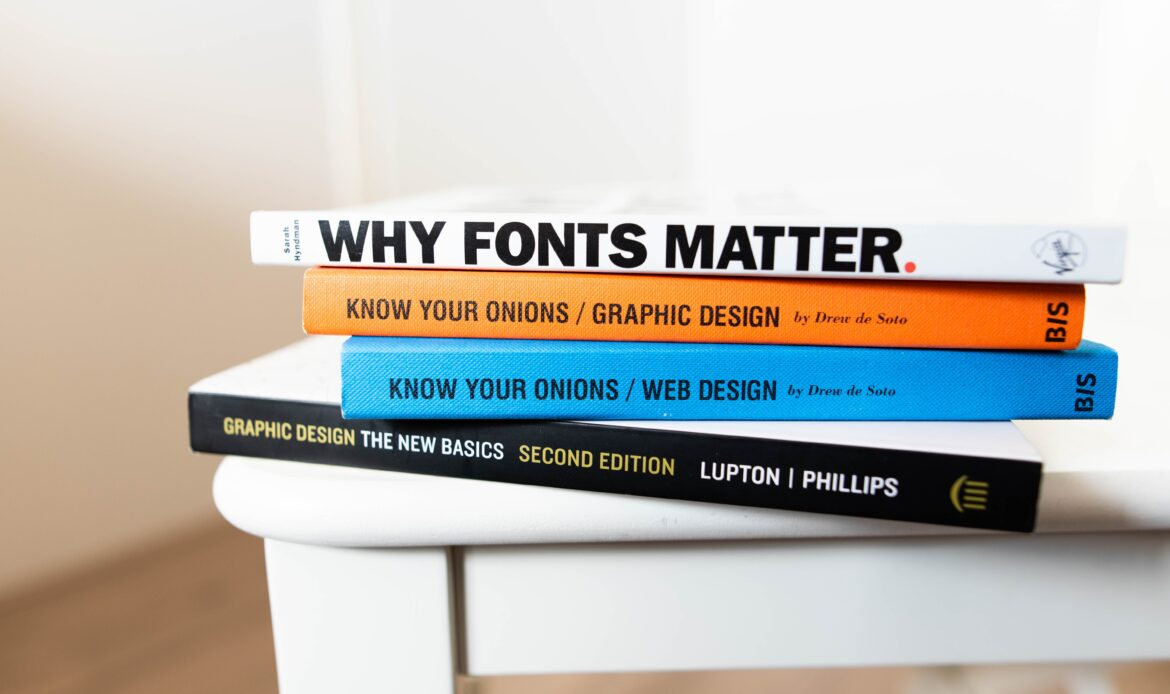 """Stack of books that read """"Why Fonts Matter"""", """"Know Your Onions: Graphic Design"""" and """"Know Your Onions: Web Design"""""""