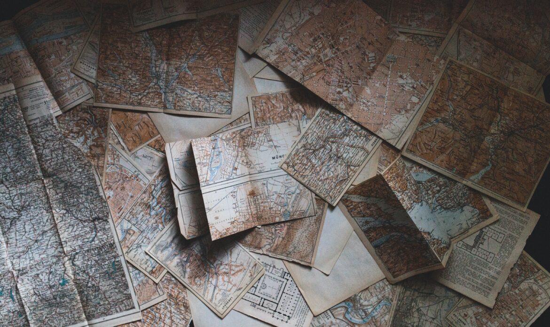 Flatlay of maps