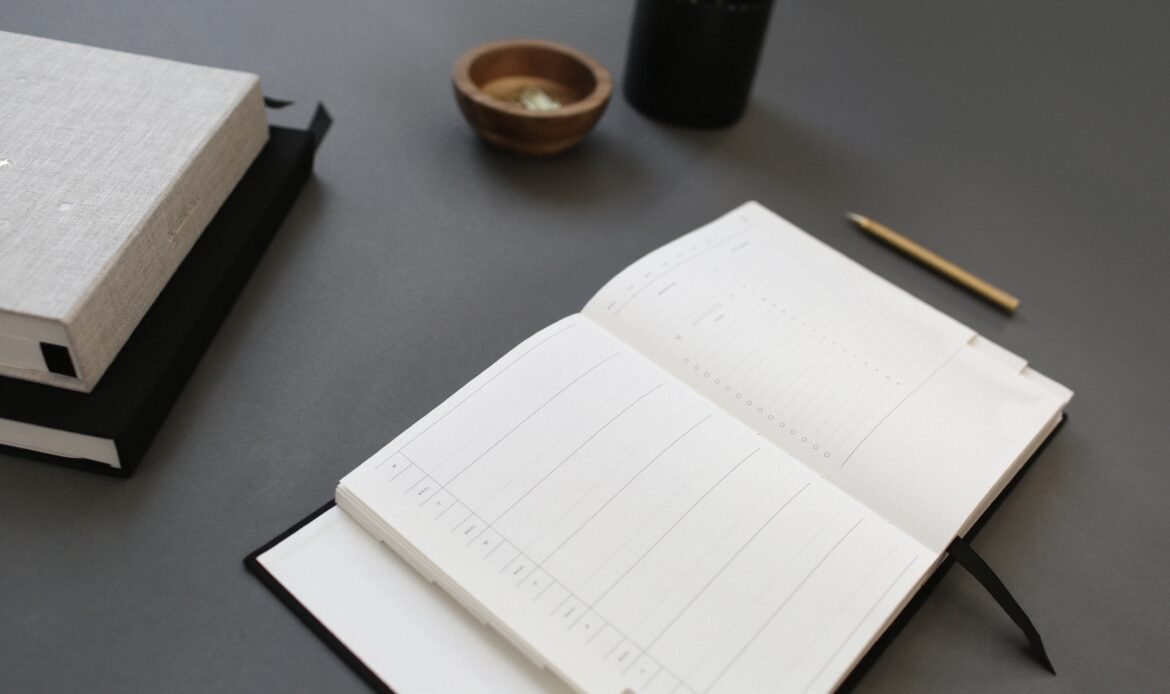 Layout of a desk with a notepad