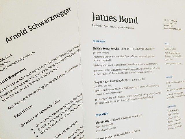 False resumes of James Bond and Arnold Schwarzenegger.