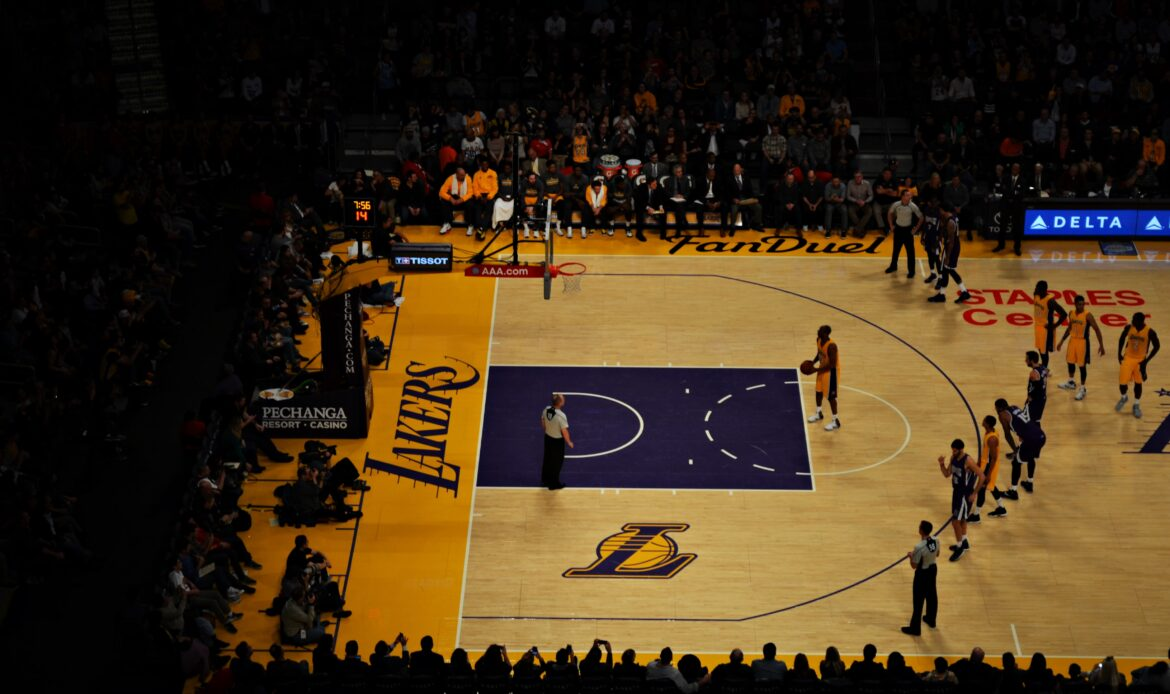 Lakers basketball game, someone throwing a free throw.