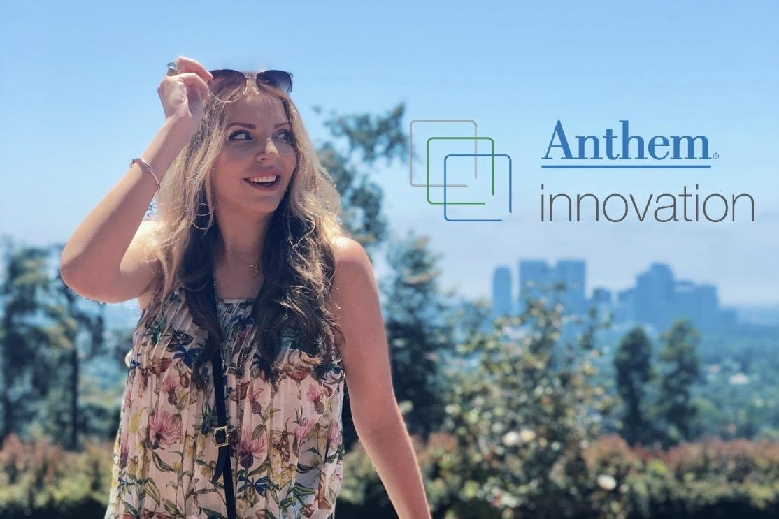 """Women with sunglasses walking outdoors. Text reads """"Anthem Innovation"""""""