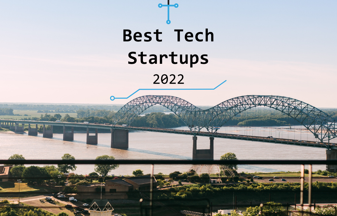 """Photo of a bridge going over a river in Memphis, Tennessee, with a graphic of """"Best Tech Startups 2022"""" from The Tech Tribune."""