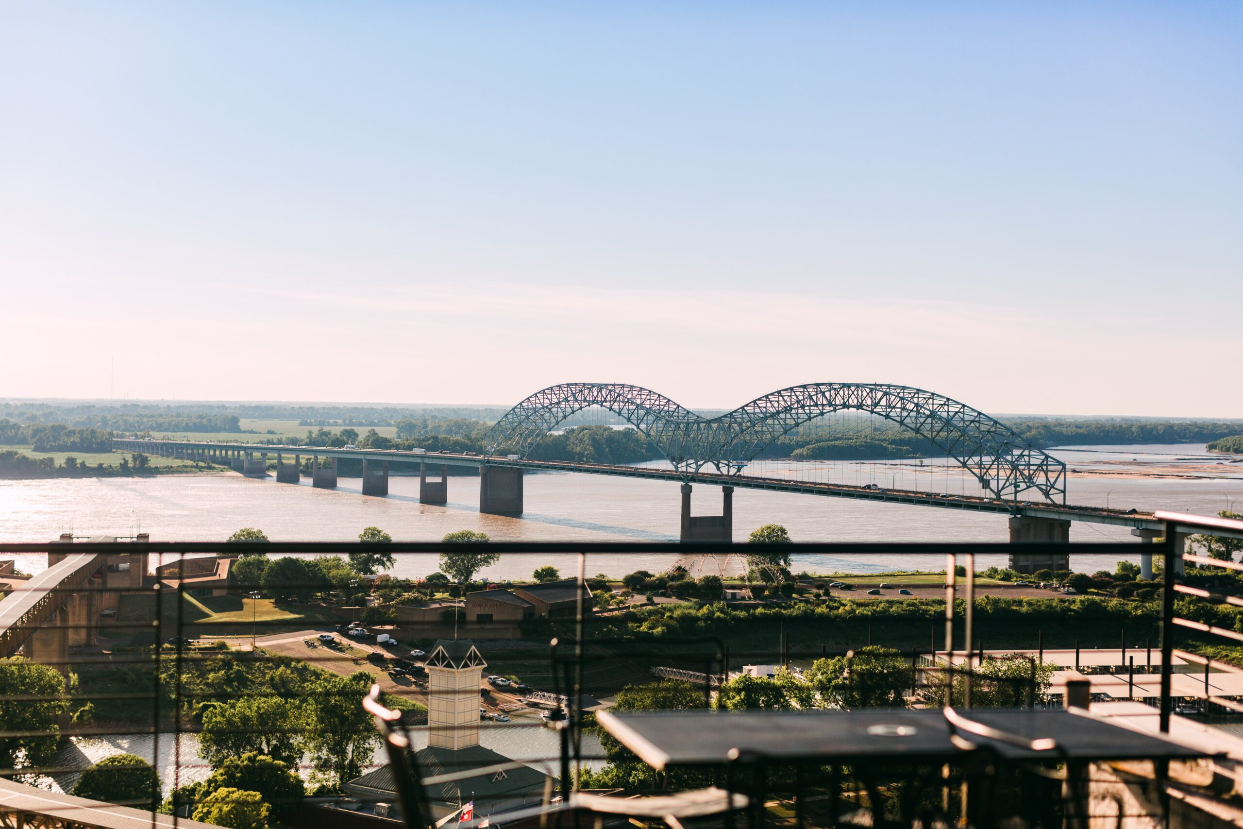 Memphis bridge over a river