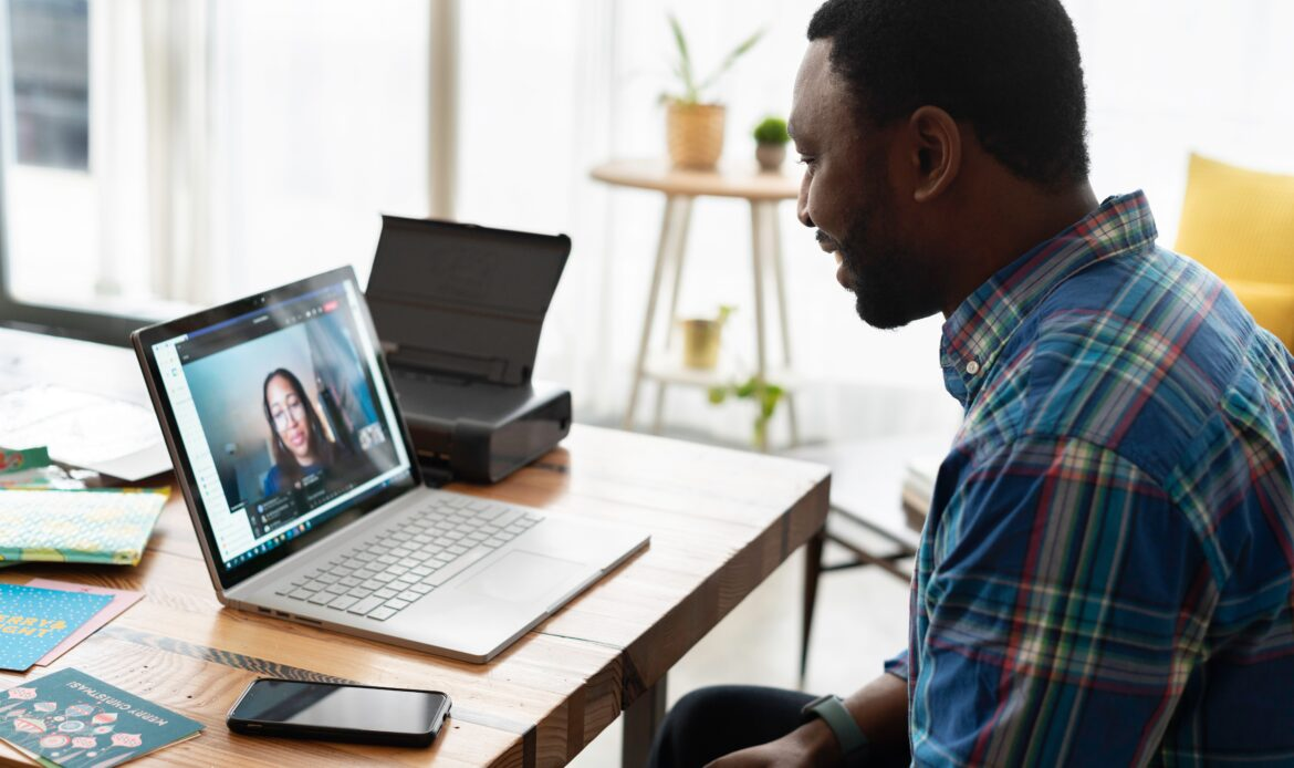 Virtual interview between a man and a woman.