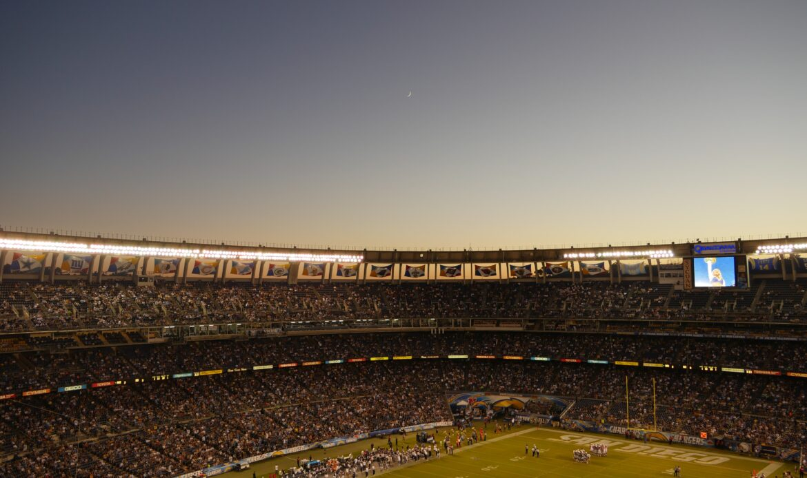 A full NFL stadium during game day.