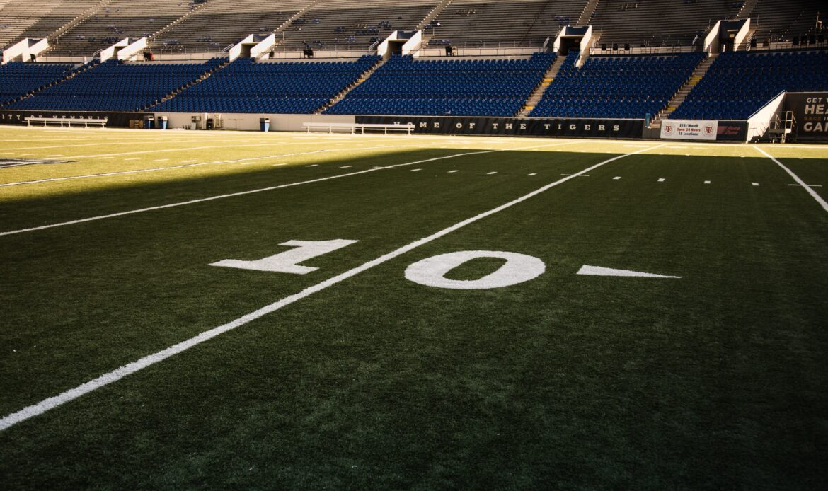 Close up of the turf at an NFL stadium at the 10 yard line.