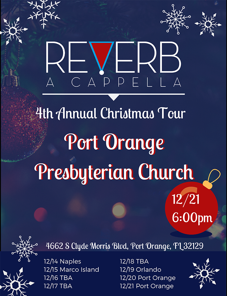 Reverb A Cappella performs at Port Orange Presbyterian Church on Sat 21st, December 2019.