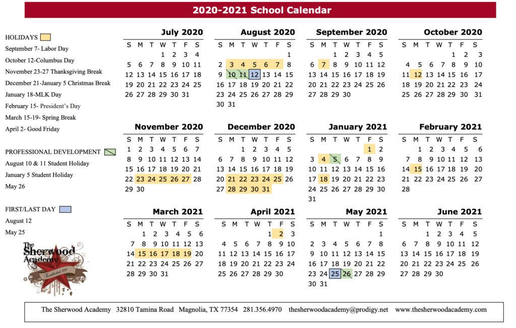 2020 - 2021 The Sherwood Academy School Calendar