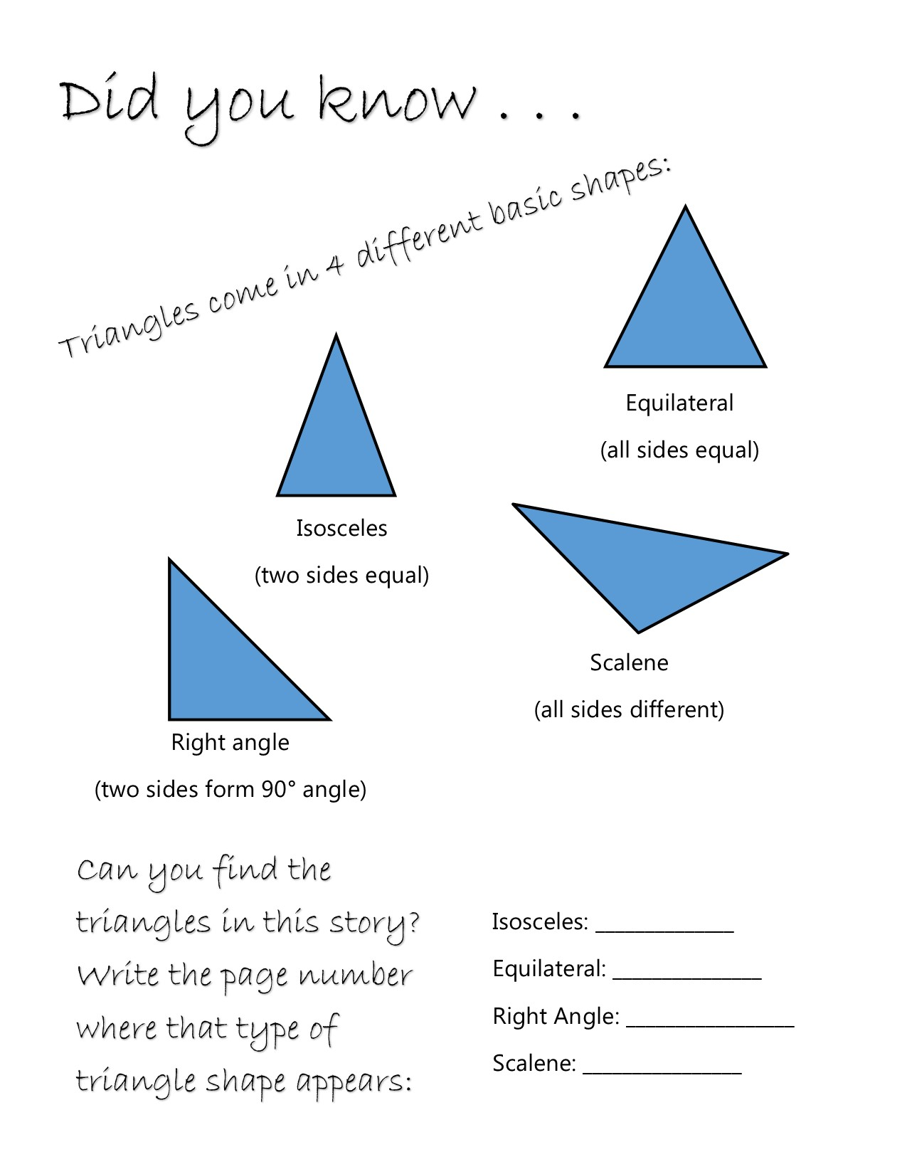 Triangle Worksheet Sample