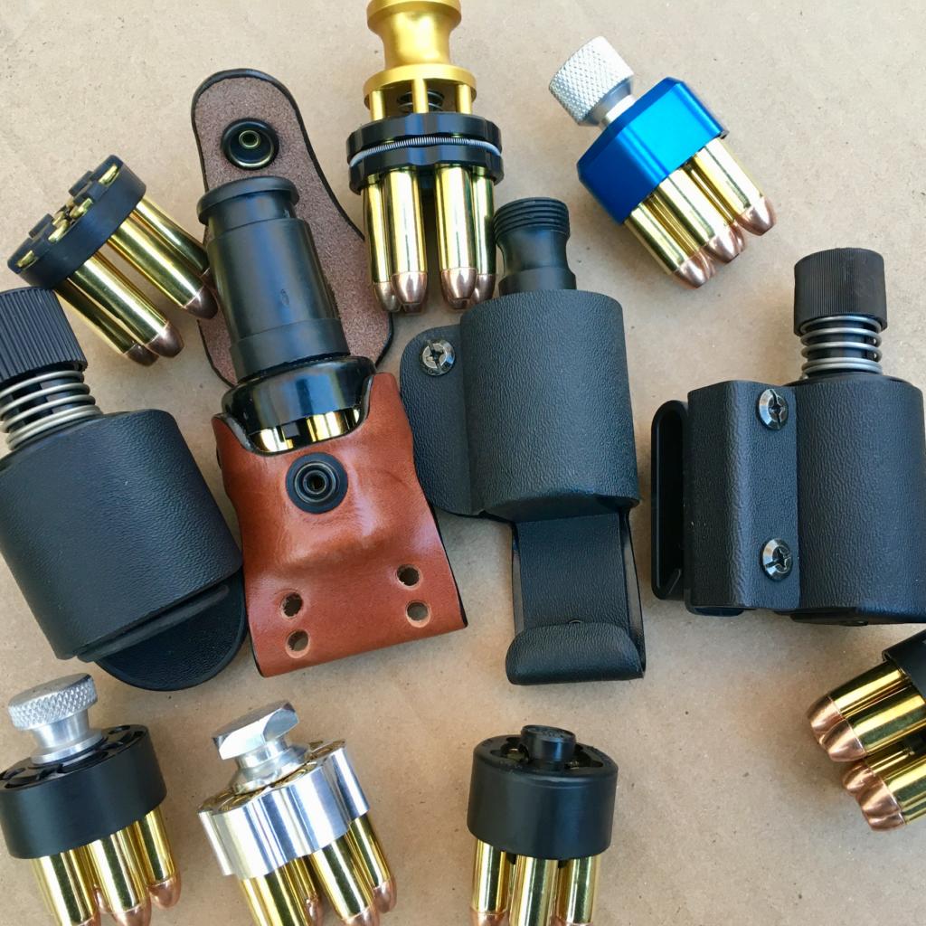 Speedloader pouches used in the best revolver speedloader test.