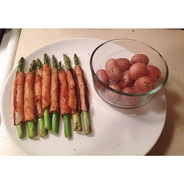Turkey Wrapped Asparagus with Garlic Parsley Potatoes
