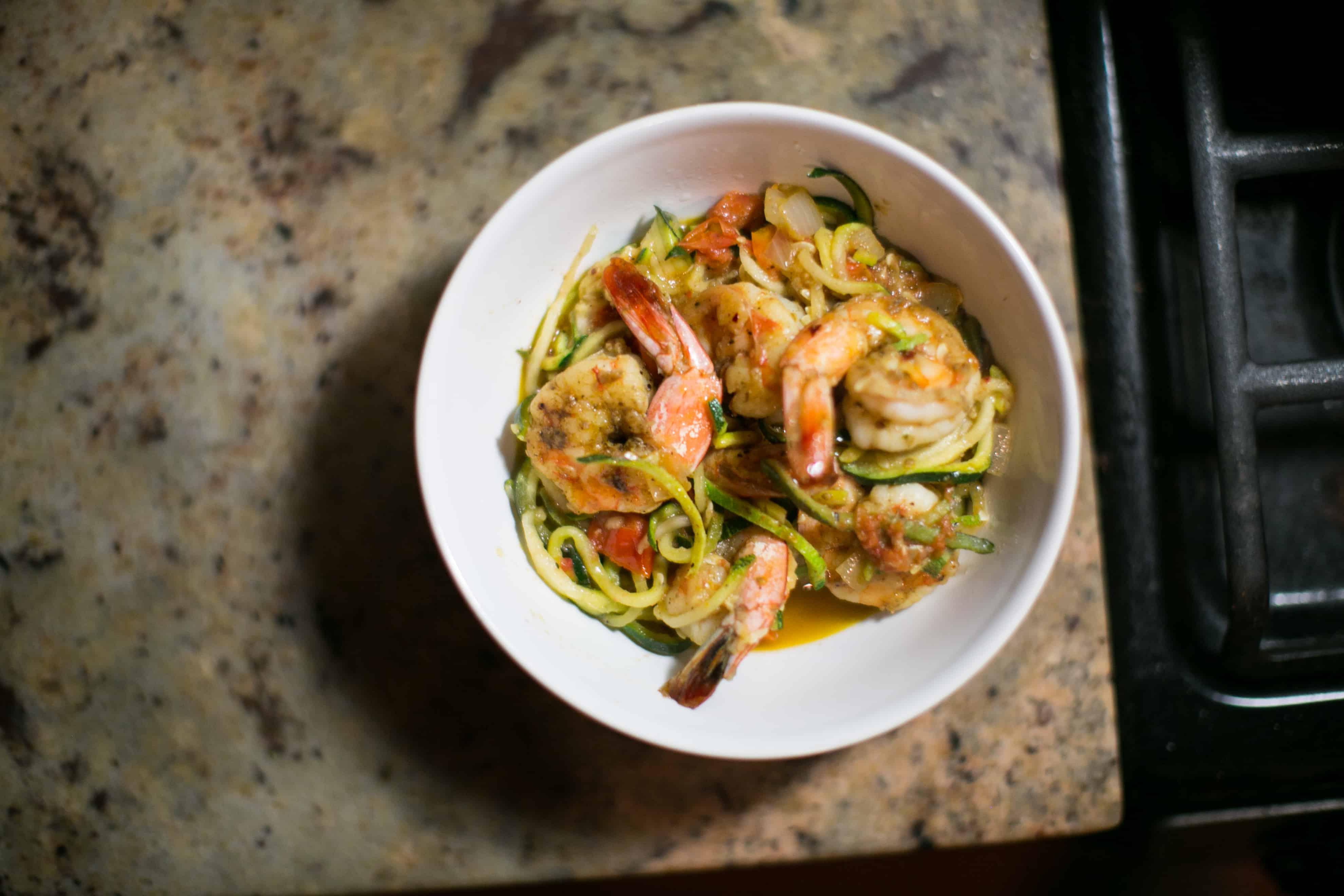 Shrimp and Zucchini Noodle Bowl