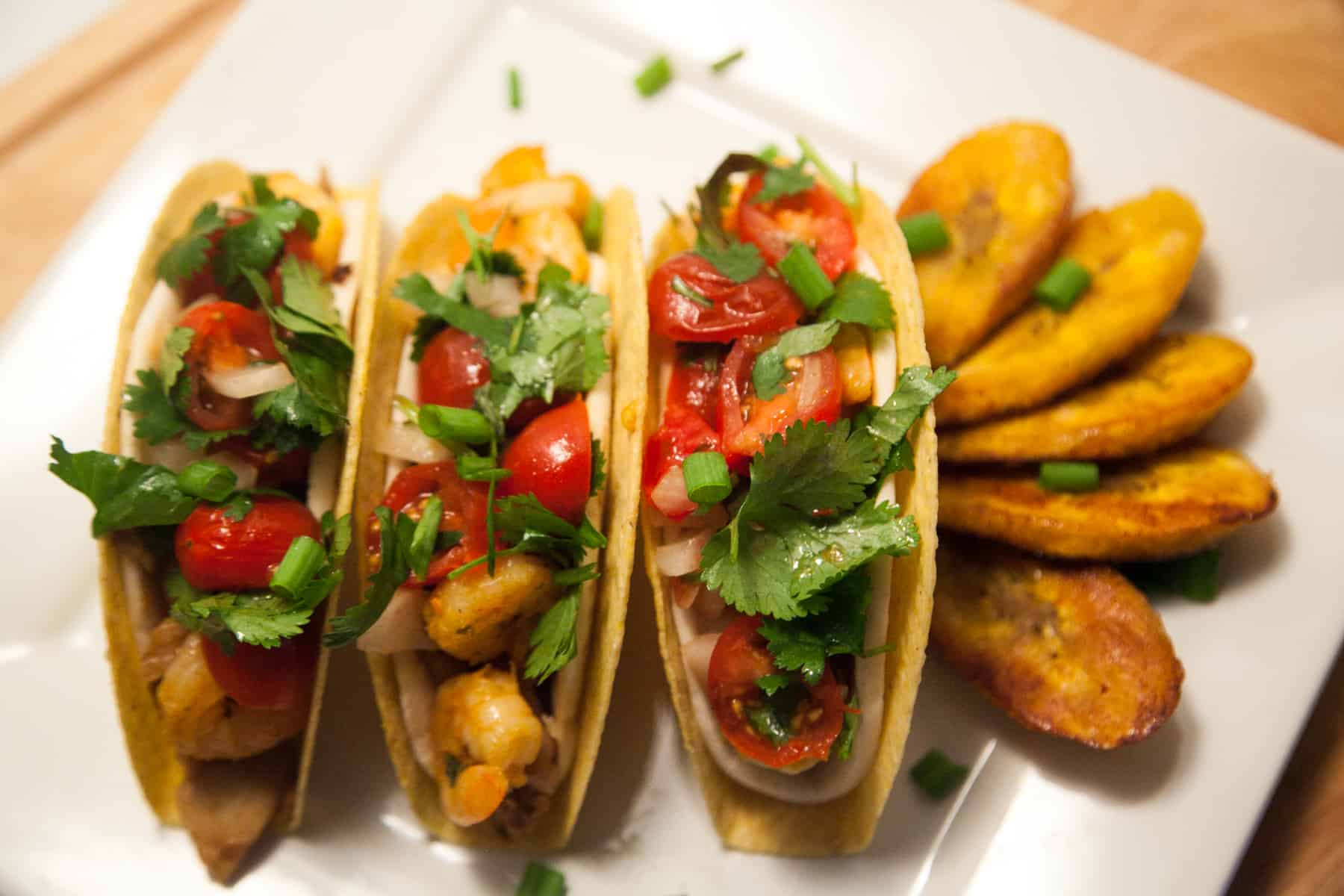 Jerk Chicken and Shrimp Crunch Soft Tacos with Plantains