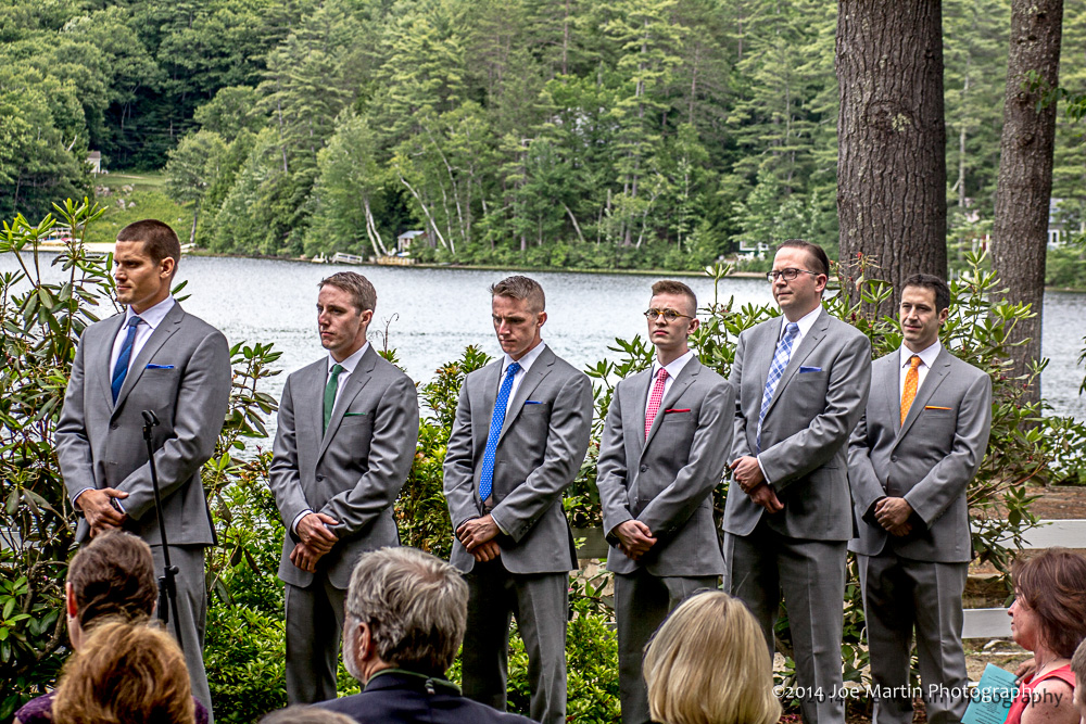 The grooms men at a wedding ceremony in NH