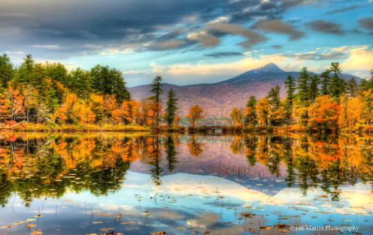 Photo of Mt Chocorua reflecting of the lake.
