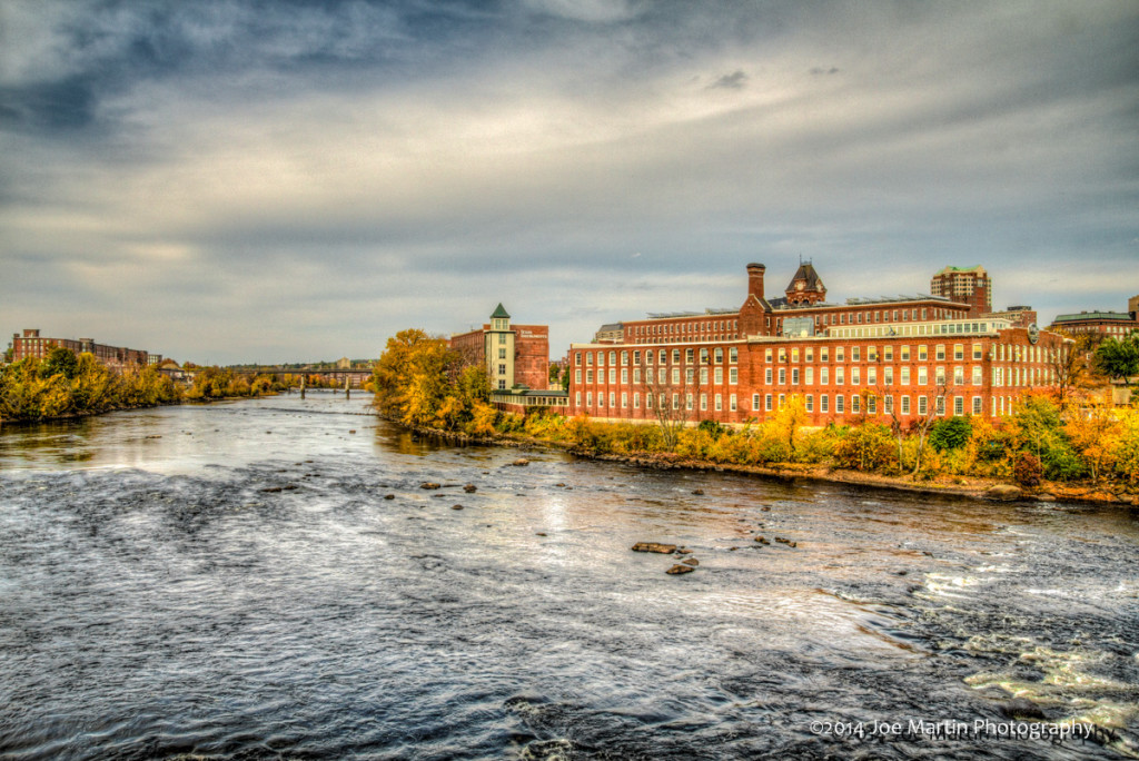 Looking down the Merrimack River in to Manchester NH