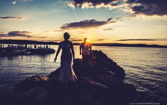 Sunset photo with the bride and groom at the The Margate Resort a New Hampshire wedding venue