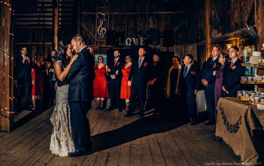 A first dance photo from a wedding at Tumbledown Farms a New Hampshire Wedding venue