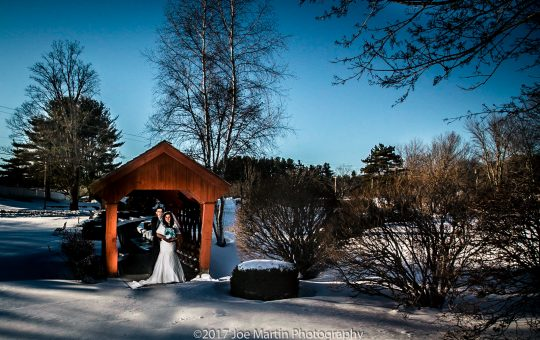 Couple poses for a bridal portrait at Evergreen Pavilion at Candia Woods