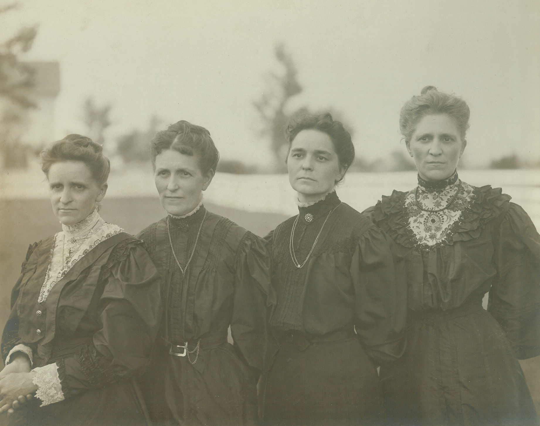 antique photo of Hains Sisters posing together