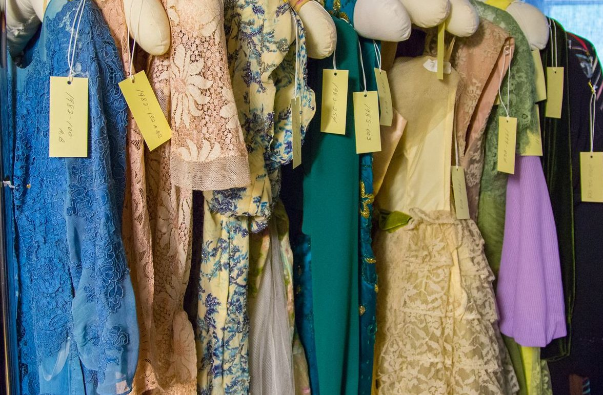 Vintage women's clothing at the Clinton County History Center