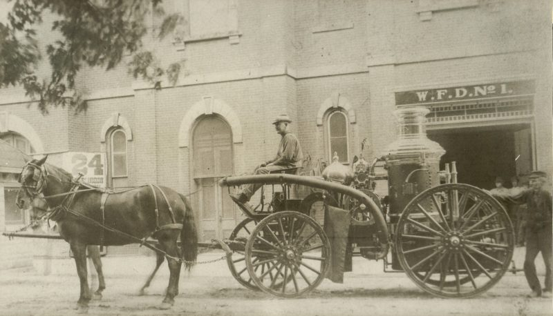 The Clinton Chief, steam powered fire engine, in 1905 Horses were King and Queenie